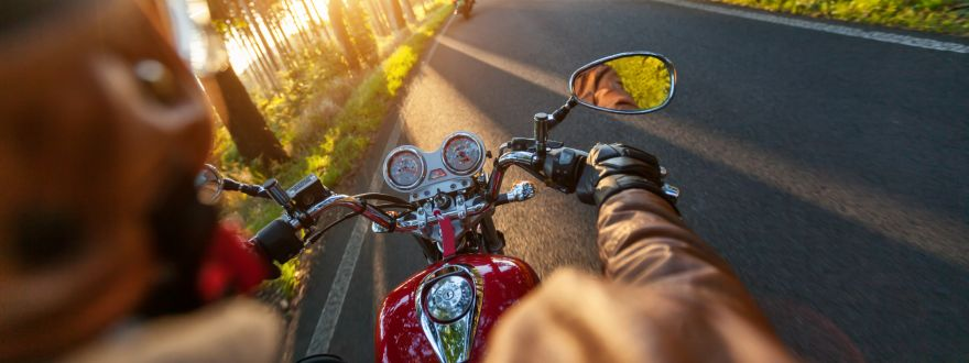 Motorcycle riding on the open road