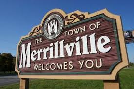 """Sign that says """"The Town of Merrillville Welcomes You""""."""