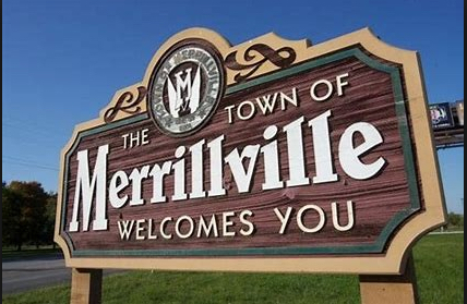 """Image of a sign that says """"The Town of Merrillville Welcomes You"""""""