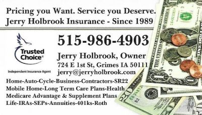 Welcome to Jerry Holbrook Insurance Grimes Johnston Waukee