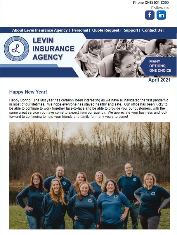 Levin Insurance Agency April 2021 Newsletter