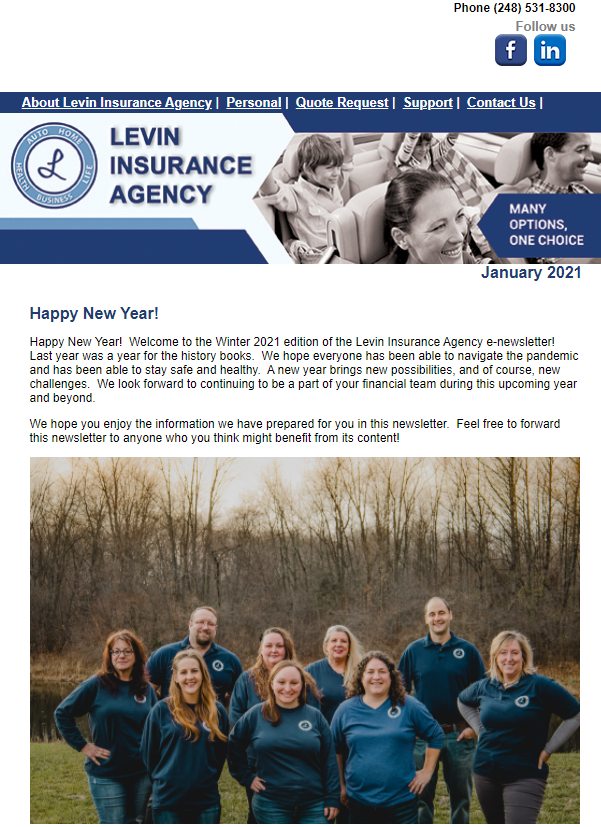 Levin Insurance Agency January 2021 Newsletter