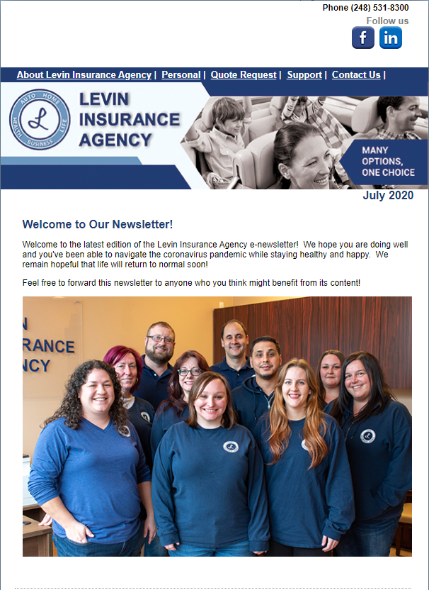 Levin Insurance Agency July 2020 Newsletter