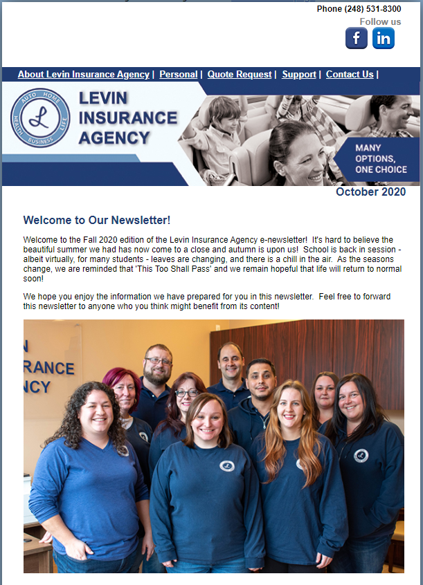 Levin Insurance Agency October 2020 Newsletter