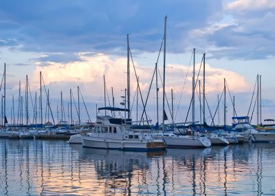 Boats docked up in marina in League City, Tx