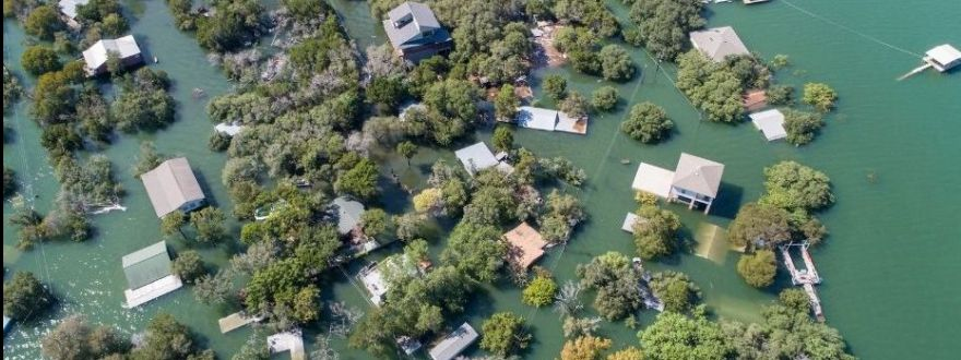 Homes under water in flood
